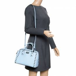 MICHAEL Michael Kors Blue Leather Studded Top Handle Shoulder Bag