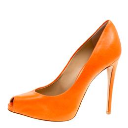 Giuseppe Zanotti Design Orange Leather Peep Toe Pumps Size 39