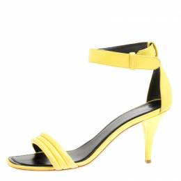 Celiine Yellow Leather Ankle Strap Sandals Size 37 Celine