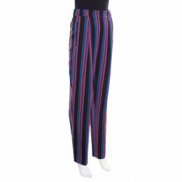 Diane Von Furstenberg Multicolor Striped High Waist Elasticized Waist Pants M 167043