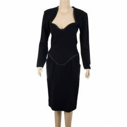 Saint Laurent Paris Black Stretch Long Sleeve Dress M