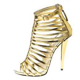 Giuseppe Zanotti Design Gold Leather Gladiator Peep Toe Sandals Size 37 167883