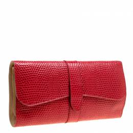 Smythson Red Lizard Embossed Leather Coin Organizer Clutch