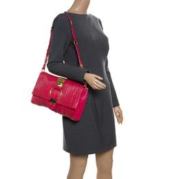 Miu Miu Fuchsia Pleated Patent Leather Shoulder Bag