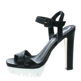 Le Silla Black Leather Cross Strap Platform Sandals Size 37.5 171411