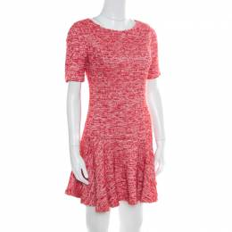 Alice + Olivia Red and White Textured Knit Flounce Dress M 171637