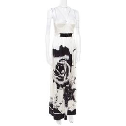 Roberto Cavalli Class Monochrome Floral Printed Silk Satin Bustier Maxi Dress S 172377
