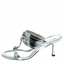 Dior Metallic Silver Leather T Strap Slide Sandals Size 36 172447