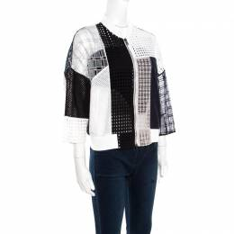3.1 Phillip Lim White and Navy Blue Cotton Eyelet Patchwork Detail Bomber Jacket S 172406
