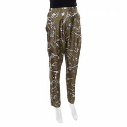 3.1 Phillip Lim Olive Green Floral Printed Silk Drape Detail Elasticized Waist Pants S 172458