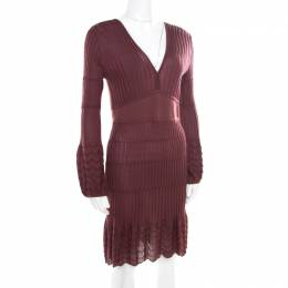 M Missoni Burgundy Perforated Rib Knit Long Sleeve V Neck Dress M
