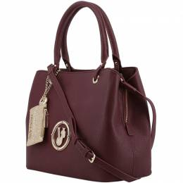 Versace Jeans Maroon Faux Pebbled Leather Tote 182584