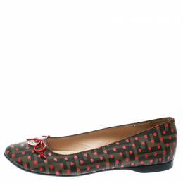 Fendi Tobacco Zucca Heart Printed Coated Canvas Bow Ballet Flats Size 39