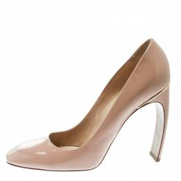 Nicholas Kirkwood Beige Patent Leather Square Toe Pumps Size 40.5 175571