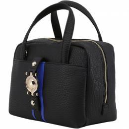 Versace Jeans Black Pebbled Faux Leather Satchel Bag 169500