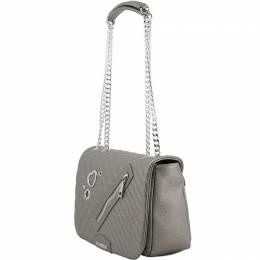 Love Moschino Grey Quilted Faux Leather Chain Flap Bag 169714