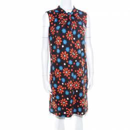 Saint Laurent Paris Black Floral Print High Neck Draped Front Sleeveless Dress M