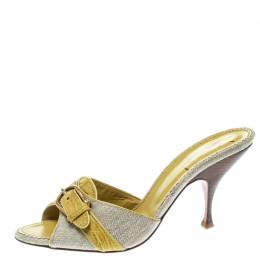 Saint Laurent Paris Lime Green/Beige Leather and Canvas Buckle Details Slide Sandals Size 41 Charlotte Olympia 176381