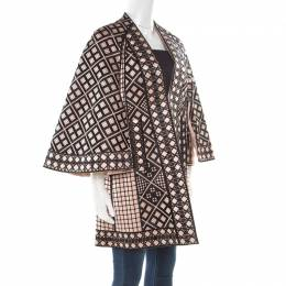 Temperley London Pink and Black Embroidered Silk Flared Sleeve A Line Coat S 176460