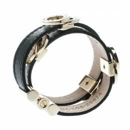 Bvlgari Black Leather Gold Tone Double Wrap Bracelet