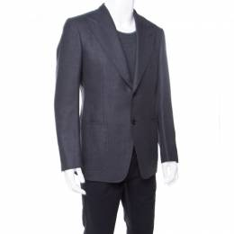 Tom Ford Grey Patterned Jacquard Mohair Blend Tailored Blazer L 176895