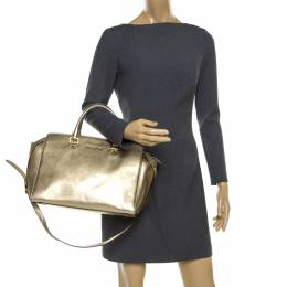 MICHAEL Michael Kors Gold Leather Medium Selma Top Handle Bag