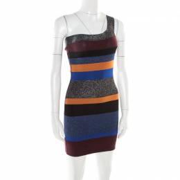 M Missoni Colorblock Striped Lurex Knit One Shoulder Bodycon Dress S 178408