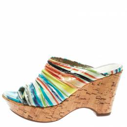 Loriblu Multicolor Patent Leather Wedge Sandals Size 38 178074