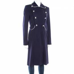 Ralph Lauren Navy Blue Logo Button Detail Double Breasted Coat S
