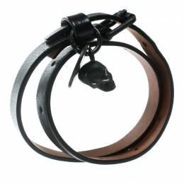 Alexander McQueen Skull Charm Black Leather Double Wrap Bracelet