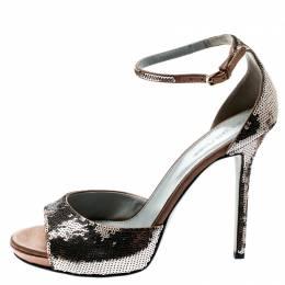 Sergio Rossi Brown Sequin Embellished Ankle Strap Platform Sandals Size 39.5