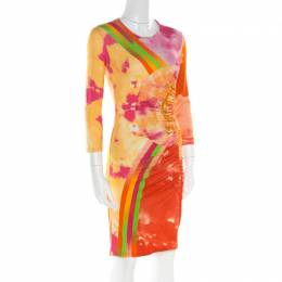 Versace Multicolor Baroque Printed Jersey Ruched Dress S 180467