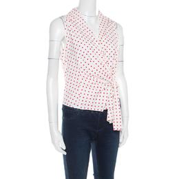 Prada Off White and Red Polka Dot Cotton Stretch Sleeveless Wrap Vest M 180934