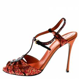 Sergio Rossi Black Suede With Multicolor Crystal Embellished T Strap Sandals Size 39 179952