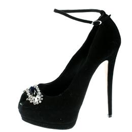 Giuseppe Zanotti Design Black Suede Crystal Embelished Peep Toe Ankle Strap Platform Pumps Size 39.5
