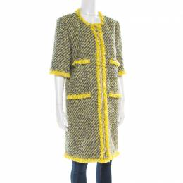 Louis Vuitton Yellow and Blue Tweed Fringed Trim Long Coat L 181296