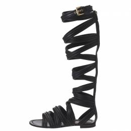 Gianvito Rossi Black Leather Gladiator Knee Length Flat Sandals Size 35 181456