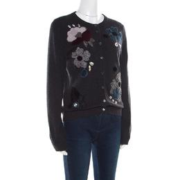 Dolce&Gabbana Grey Embellished Floral Applique Detail Cashmere Cardigan M 182155