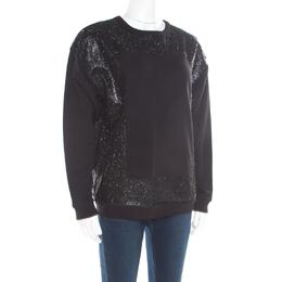 MCQ by Alexander McQueen Black Crew Neck Glitter Sweatshirt M