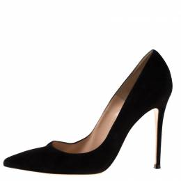 Gianvito Rossi Black Suede Pointed Toe Pumps Size 40 182500