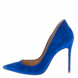 Gianvito Rossi Blue Suede Pointed Toe Pumps Size 38 183830
