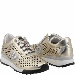 Love Moschino Metallic Beige Faux Heart Perforated Faux Leather Platform Lace Up Sneakers Size 36 199458