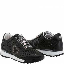 Love Moschino Black Faux Heart Perforated Leather Platform Lace Up Sneakers Size 41 199411