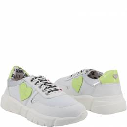 Love Moschino White Fabric and Faux Leather Platform Sneakers Size 37