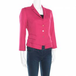 Elie Tahari Pink Textured Fitted Angular Blazer S