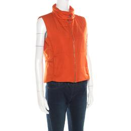Hermes Sellier Orange Quilted Zip Front Vest M 184901