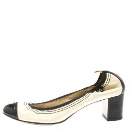 Chanel Monochrome Leather Cap Toe Scrunch Block Heel Pumps Size 37 185295