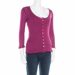 Dolce&Gabbana Purple Perforated Knit Sleeveless Top and Cardigan Set L 184848