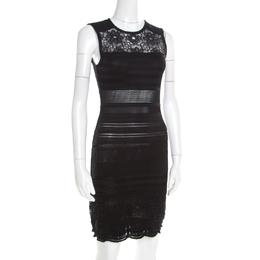 Roberto Cavalli Black Knit Lace Insert Sleeveless Fitted Dress S 185637