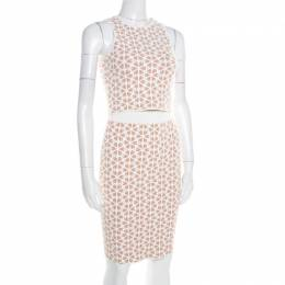 Alexander McQueen Beige and White Embossed Floral Jacquard Crooped Top and Skirt Set S 185783